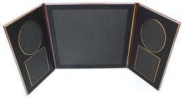 Art Leather Folio Burgandy and Gold With 2 Oval and 2 Rectangular
