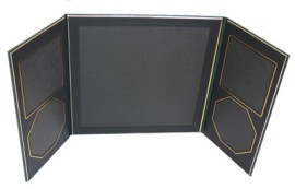 Art Leather Folio Green and Gold With 2 Square and 2 Octagonal