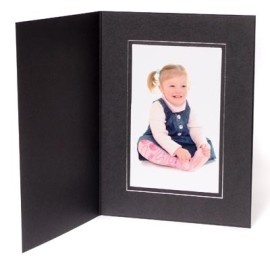 10x8 / 8x10 09 Series Black & Silver Photo Folder - Portrait