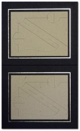 5x4 / 4x5 Black Strut Photo Mounts with Silver Aperture (2on)