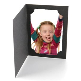 6x4 / 4x6 Black Cut Corner Photo Folders Portrait Box of 100
