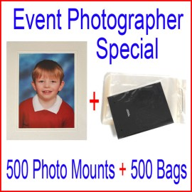 Event Photographer Special - 500 (6x9) Cream Photo Mounts Plus 500 (6x9) Bags
