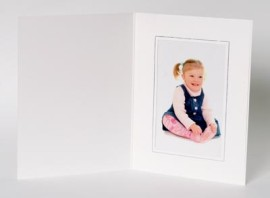 10x8 / 8x10 63 Series White & Silver Photo Folder - Portrait