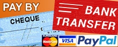 Pay by Cheque or bank Transfer